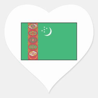 Turkmenistán - bandera turcomana calcomanías de corazones