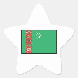 Turkmenistán - bandera turcomana calcomanías forma de estrella