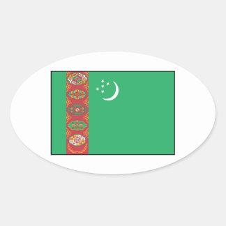 Turkmenistán - bandera turcomana calcomanías de óvales