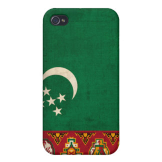 Turkmenistan Flag Distressed iPhone 4 Hard Shell C iPhone 4 Case