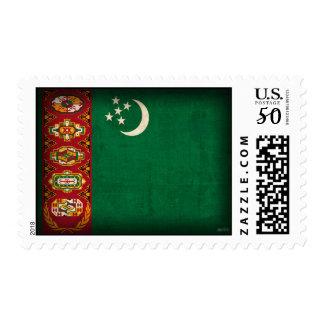 Turkmenistan Flag Distressed Postage Stamps