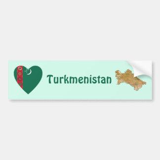 Turkmenistan Flag Heart + Map Bumper Sticker