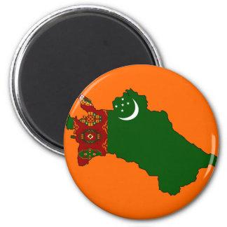 Turkmenistan flag map 2 inch round magnet