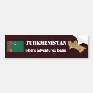 Turkmenistan Flag + Map Bumper Sticker