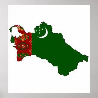 Turkmenistan Flag Map full size Poster