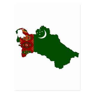 Turkmenistan flag map post card