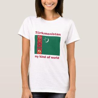 Turkmenistan Flag + Map + Text T-Shirt