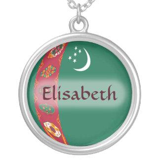 Turkmenistan Flag + Name Necklace