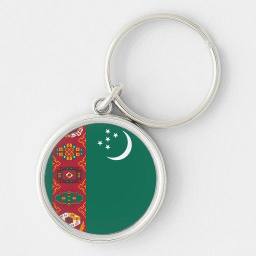 Turkmenistan Flag Silver-Colored Round Keychain