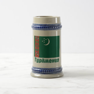 Turkmenistan Flag with name in Russian Beer Stein