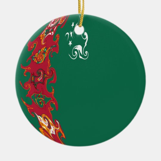 Turkmenistan Gnarly Flag Ceramic Ornament