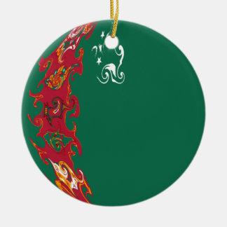 Turkmenistan Gnarly Flag Christmas Ornament