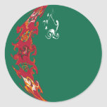 Turkmenistan Gnarly Flag Classic Round Sticker