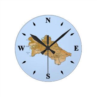 Turkmenistan Map Clock
