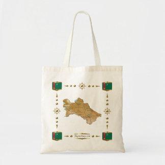 Turkmenistan Map + Flags Bag