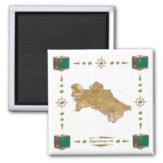 Turkmenistan Map + Flags Magnet