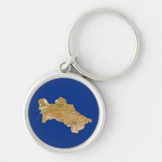 Turkmenistan Map Keychain