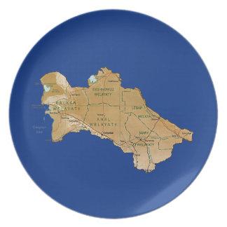 Turkmenistan Map Plate