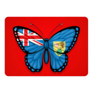 """Turks and Caicos Butterfly Flag on Red 5"""" X 7"""" Invitation Card"""