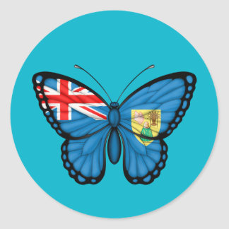 Turks and Caicos Butterfly Flag Round Stickers