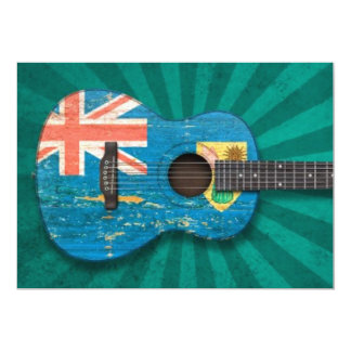 Turks and Caicos Flag Acoustic Guitar, teal Personalized Announcements