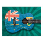Turks and Caicos Flag Acoustic Guitar, teal Post Card