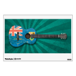 Turks and Caicos Flag Acoustic Guitar, teal Wall Decal
