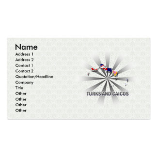 Turks And Caicos Flag Map 2.0 Business Cards