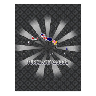 Turks And Caicos Flag Map 2.0 Post Card