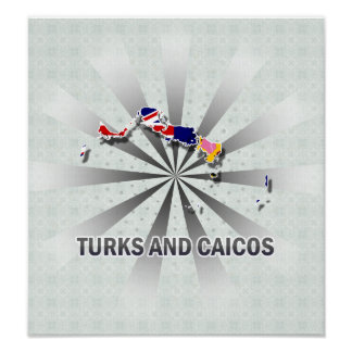 Turks And Caicos Flag Map 2.0 Poster