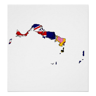 Turks And Caicos Flag Map full size Print