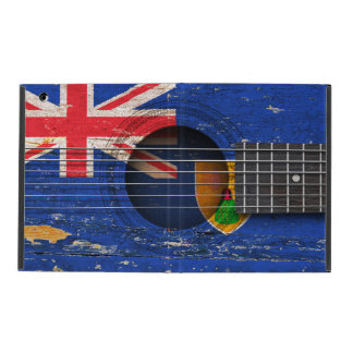 Turks and Caicos Flag on Old Acoustic Guitar iPad Case
