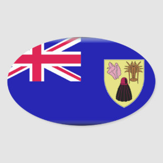 Turks and Caicos Flag Oval Sticker