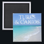 """Turks and Caicos Islands Beautiful Beach View Magnet<br><div class=""""desc"""">This magnet features a beautiful view of the ocean from the Turks and Caicos Islands and &quot;Turks and Caicos&quot; typography. The relaxing scene with turquoise water and a sandy beach captures the beauty of the islands. (Photo courtesy of Pixabay.)</div>"""