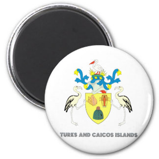 Turks and caicos islands coat of arms 2 inch round magnet