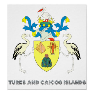 Turks and caicos islands coat of arms poster