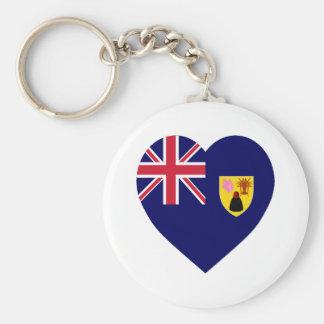 Turks and Caicos Islands Flag Heart Keychain