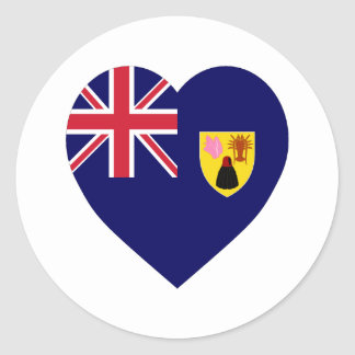 Turks and Caicos Islands Flag Heart Round Stickers