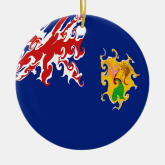 Turks and Caicos Islands Gnarly Flag Double-Sided Ceramic Round Christmas Ornament