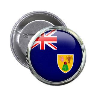 Turks and Caicos Islands señalan la bola por medio Pin Redondo De 2 Pulgadas