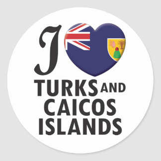 Turks and Caicos Islands. Round Sticker