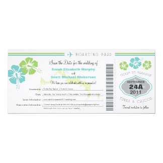 Turks & Caico Save the Date Boarding Pass Custom Invitation