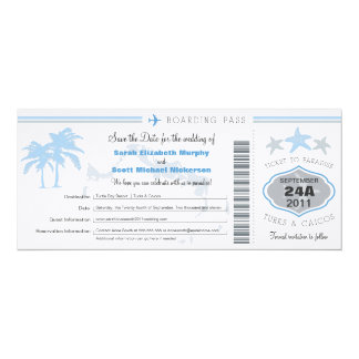 """Turks & Caico Save the Date Boarding Pass 4"""" X 9.25"""" Invitation Card"""