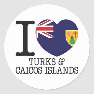 Turks Caicos and Islands Love v2 Round Stickers