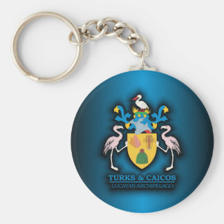 Turks & Caicos COA Basic Round Button Keychain