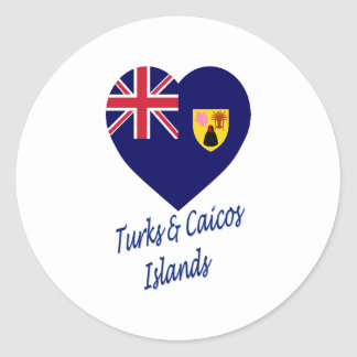 Turks & Caicos Islands Flag Heart Round Stickers