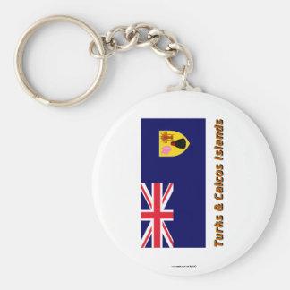 Turks & Caicos Islands Flag with Name Keychain