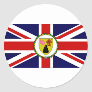 Turks Caicos Islands Governor Flag Round Sticker