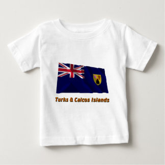 Turks & Caicos Islands Waving Flag with Name Baby T-Shirt
