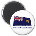 Turks & Caicos Islands Waving Flag with Name Magnets